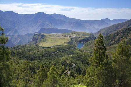 Gran Canaria,  February, view toward freshwater reservoir Presa de Candelaria