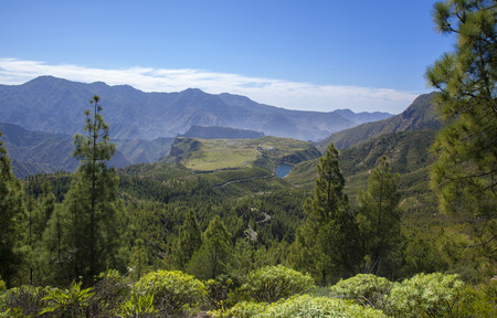 Gran Canaria,  February, view toward freshwater reservoir Presa de Candelaria