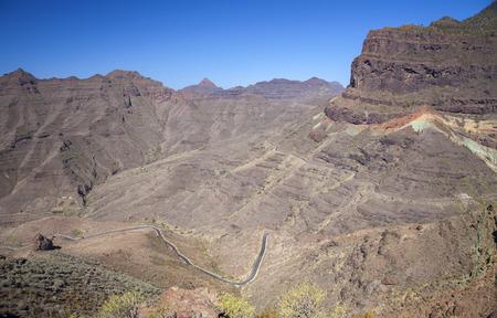 Gran Canaria, March, amazing multicolored strata Azulejos at the edges of nature reserve Inagua, on the scenic road Mogan - La Aldea de San Nicolas
