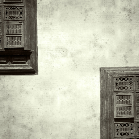 textured stylish old paper background, square, with ornate wooden shutters