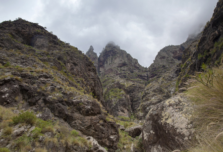Gran Canaria, March, landscapes of valley of Agaete, hiking route San Pedro - Puerto de las Nieves, view up to Tamadaba massif