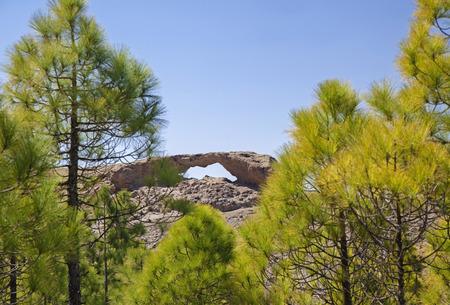 Gran Canaria, Las Cumbres - the highest areas of the island, eroded stone arch La Ventana del Nublo