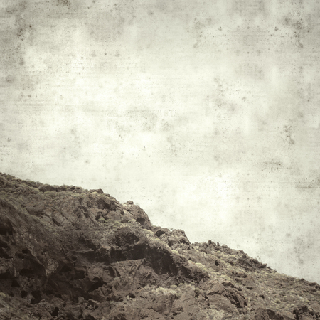 textured stylish old paper background, square, with landscape of Gran Canaria