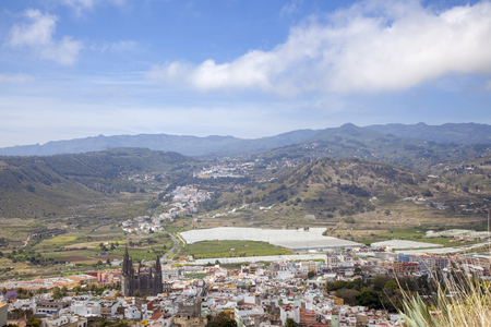 Gran Canaria, April , view down from the Montana de Arucas at the north of the island
