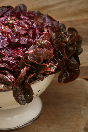 red leaf lettuce in a colander on wood board background Stock Photo