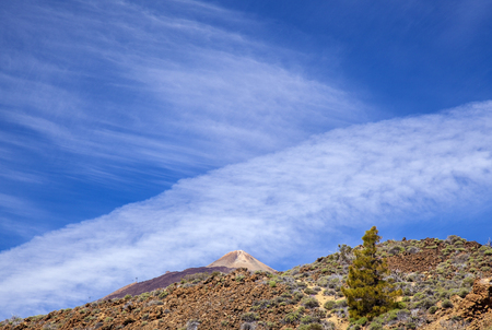 Peak of Teide, the tallest mountain in Spain, as seem from the east