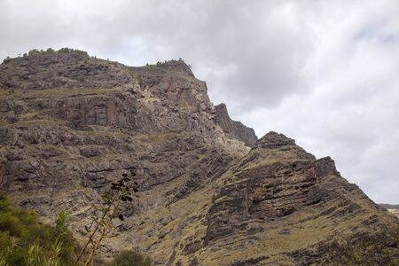 Gran Canaria, steep walls of Agaete valley on the north of the island Stock Photo
