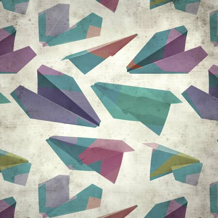 textured stylish old paper background, square, with colorful paper planes