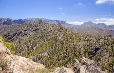 Gran Canaria, June, view from a peak Morro de Pajonales towards the center of the island,  Nature Park Pajonales