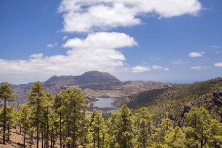 Gran Canaria, June, Nature Park Pajonales, view towards freshwater reservoir Presa de Las Ninas