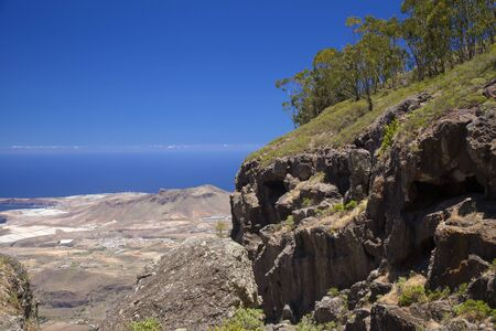 Gran Canaria, June, view from the tops of Tamadaba massif over valley de Agaete towards Atlantic