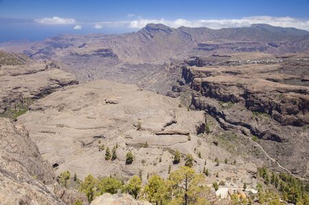 Gran Canaria, June, view over ravine Barranco del Juncal, Altavista mountain in far distance