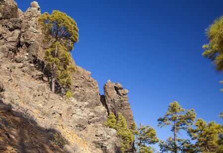 Gran Canaria, July, view towards  steep cliff ,stone face