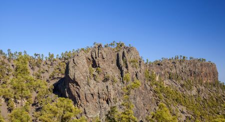 Gran Canaria, July, view towards  steep cliff Morro Guanil, blue sky