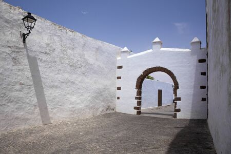 Teguise town on Lanzarote, whitewashed walls of the centre