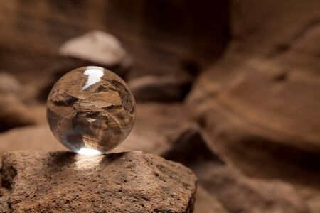 Gran Canaria, Barranco de las Vacas, ie Cows Ravine, crystal ball photography 免版税图像