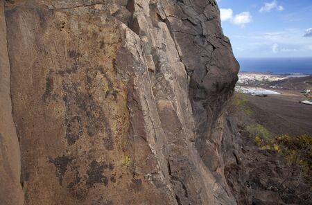 Gran Canaria, aboriginal rock art examples found on rock face on the top of Montana de Aguimes mountain, EL Hombre de Guayadeque, The Man of Guayadeque