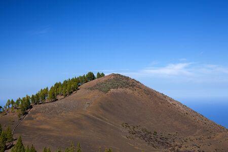 Gran Canaria, November, aerial view over dar volcanic cone of Montanon Nergo