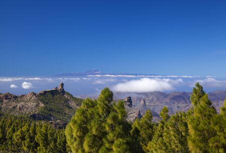 Gran Canaria, view from the highest point of the islad, Pico de las Nieves, towards Roque Nublo and Teide on Tenerife