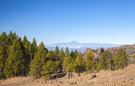 Gran Canaria, January, view from the highest areas of the island, Las Cumbres, towards Teide on Tenerife Stock Photo