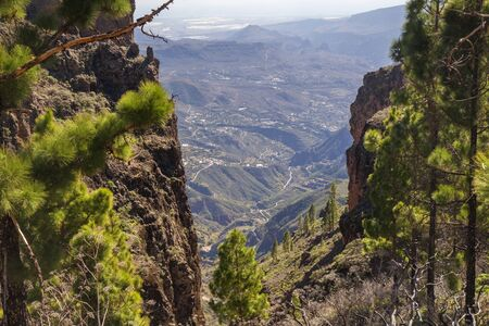 Gran Canaria, January, aerial view towards Tirajana valley, start of hard  hiking route through ravine Canadon del Jierro, one of the classical transhumance routes