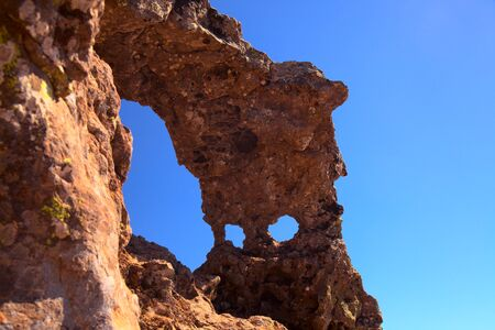 Gran Canaria, beautiful stone arch close to Pico de Las Nieves, highest point of the island Stock fotó