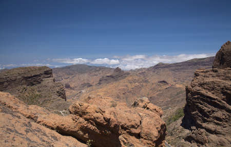 Gran Canaria, landscape of the central part of the island, Las Cumbres, ie The Summits, route on ascent to Risco Chimirique, Tejeda municipality Banque d'images