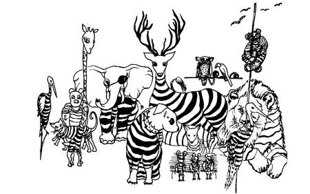 gang: dibujado a mano de la cuadrilla de Animales