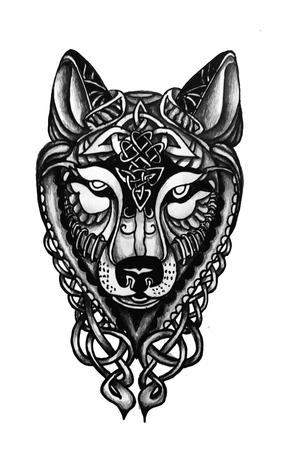 Il disegno del tatuaggio del lupo celtico annega a mano Vettoriali