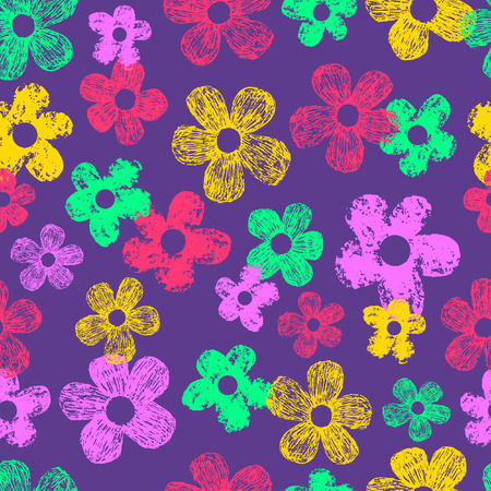 neon texturized flowers pattern