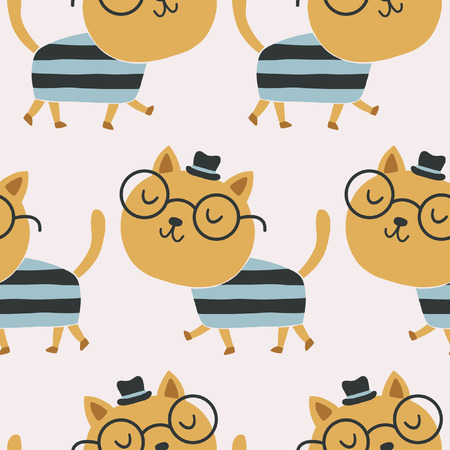 cat with a hat cute pattern Stock Illustratie