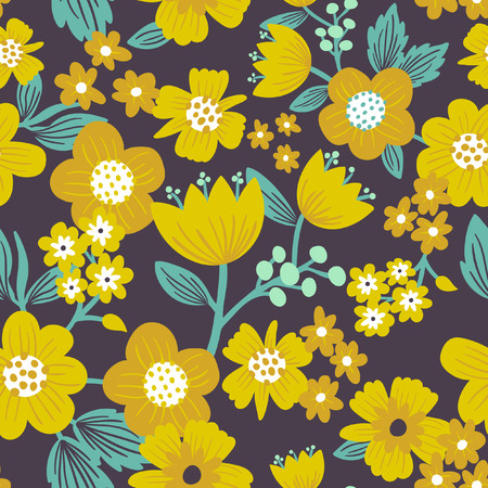 Yellow floral pattern Stock Illustratie
