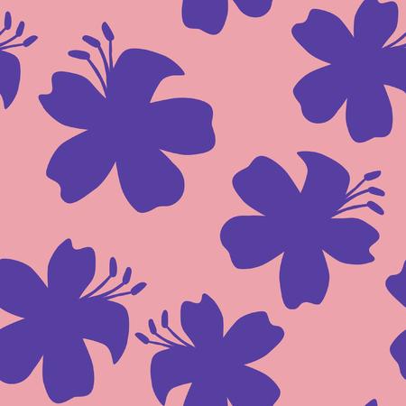 Minimal oriental flowers  pattern Stock Illustratie