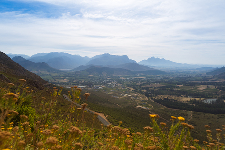 Mountain and valley view from Sir Lowrys Pass in South African Republic 스톡 콘텐츠