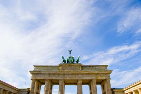 The Brandenburg Gate is an 18th-century neoclassical monument in Berlin, built on the orders of Prussian king Frederick William II after the temporary restoration of order during the Batavian Revolution. One of the best-known landmarks of Germany. Stock Photo