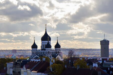 City view of Tallinn. Buildings and architecture exterior view in old town of Tallinn, colorful old style houses. Panoramic view. Estonian architecture.