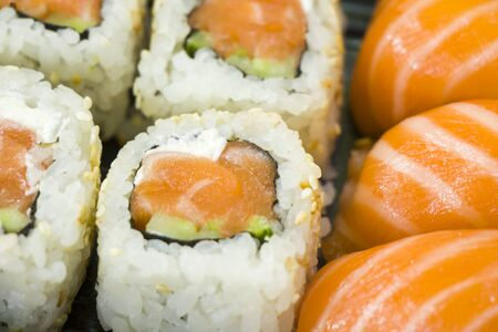 Sushi set on the table, Seafood and vegetables. Close-up and macro Stock fotó