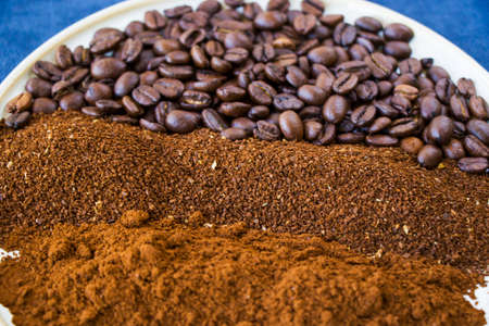 Coffee beans, seeds and roasted coffee for espresso, cappuccino and americano, studio shoot