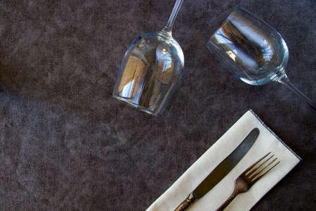Tableware and dishware setting, wineglass, folk and knife
