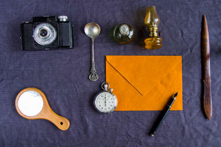 Vintage objects on the table, high angle view
