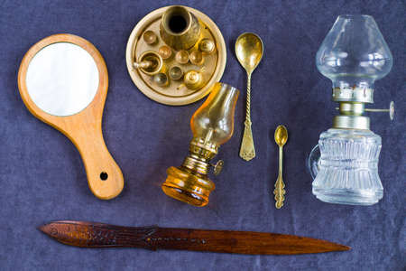 Vintage objects on the table, old beautiful things