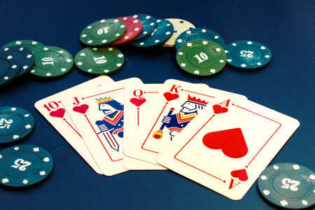 Royal flush cards. Card game, cards on the table. Poker and blackjack, play cards.