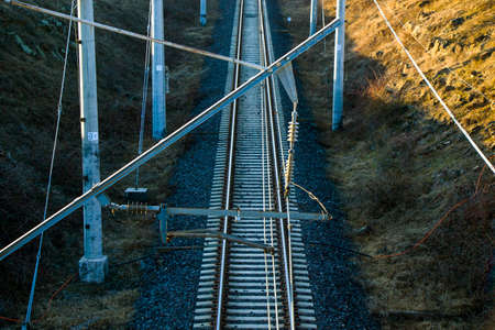 Rails view in Georgia, train road and station, lines and horizon