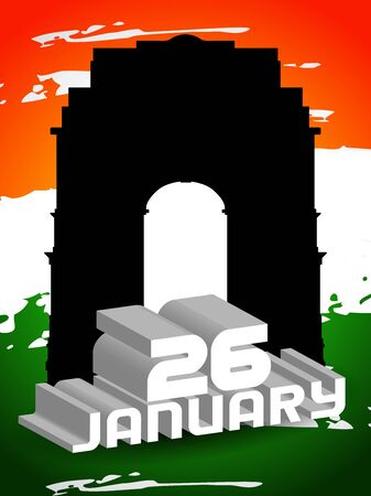 india gate: Creative background for Republic Day, 26 january. Illustration
