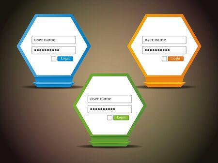 set of creative vector login icons.