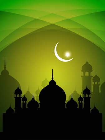 in islamic art: abstract colorful eid background with mosque.