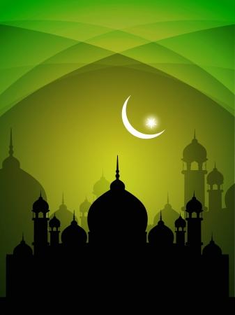 allah: abstrakte farbenfrohe eid Hintergrund mit Moschee. Illustration