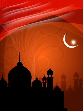 islamic art: abstract colorful eid background with mosque.