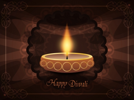 religious background with beautiful lamp for diwali festival  Vector