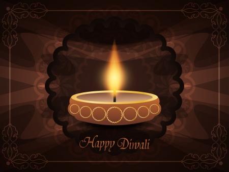 deepak: religious background with beautiful lamp for diwali festival  Illustration